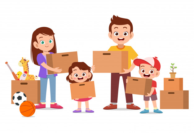 family holding cardboard moving house 97632 720